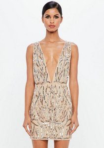 Read more about Nude embellished plunge mini dress beige