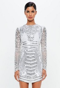 Read more about Silver embellished curve hem mini dress grey