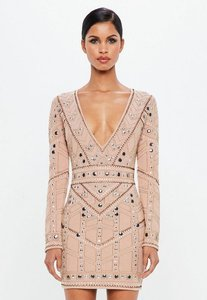 Read more about Nude geo embellished plunge mini dress beige