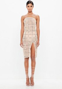 Read more about Nude grid embellished bandeau midi dress beige