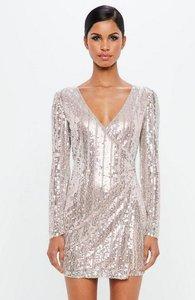 Read more about Silver embellished stripe wrap mini dress grey