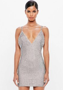 Read more about Silver embellished bodycon mini dress grey
