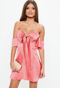Read more about Pink bardot satin tie cut out skater dress pink