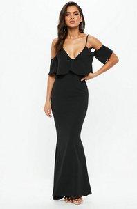 Read more about Black frill fishtail maxi dress black