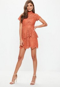 Read more about Orange short sleeve lace double layer skater dress brown