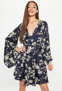 Read more about Navy satin floral print plunge neck skater dress multi