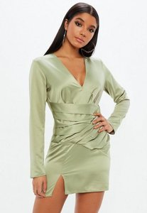 Read more about Green silky paneled long sleeve shift dress beige