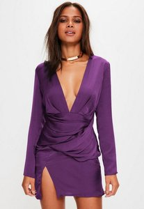 Read more about Purple satin panelled long sleeve shift dress purple