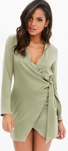 Read more about Khaki silky wrap shirt dress beige