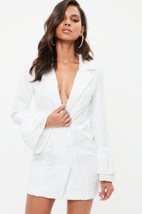 Read more about White jacquard flock floral frill blazer dress white