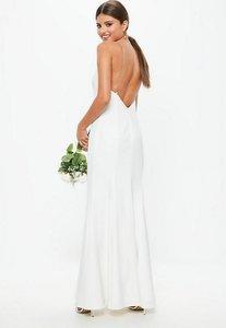 Read more about Bridal white diamante strap maxi dress white