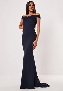 Read more about Bridesmaid navy bardot lace insert fishtail maxi dress navy