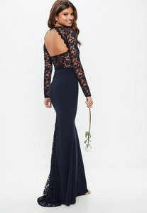 Read more about Bridesmaid navy round neck lace insert fishtail maxi dress blue