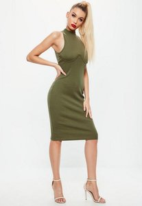 Read more about Khaki high neck bust cup bodycon midi dress beige