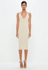 Read more about Nude bandage scoop back bodycon midi dress nude