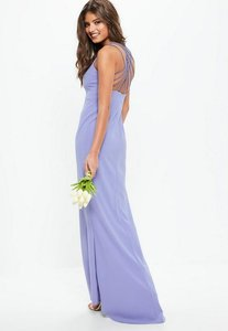 Read more about Bridesmaid blue 90s neck strappy fishtail maxi dress blue