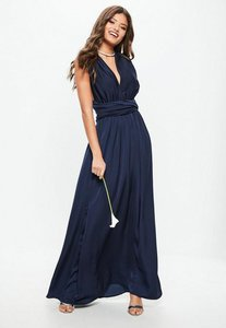 Read more about Bridesmaid navy satin multiway maxi dress blue