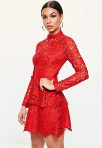 Read more about Red lace high neck frill layered mini dress red