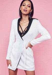 Read more about White hammered satin monochrome blazer dress white