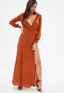 Read more about Brown long sleeve plunge wrap split maxi dress brown