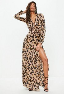 Read more about Gold leopard print wrap front maxi dress animal print