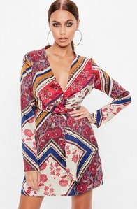Read more about Red silky plunge wrap shift dress multi