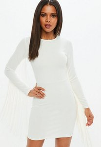 Read more about White tassel long sleeve bodycon mini dress white