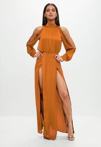 Read more about Rust split front satin maxi dress brown