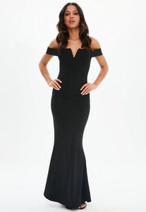 Read more about Black scuba fishtail maxi dress black
