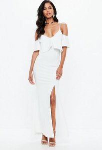 Read more about White strappy frill fishtail maxi dress white