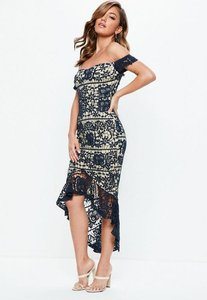 Read more about Navy bardot lace fishtail midi dress blue