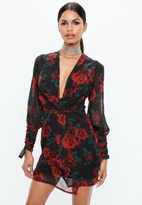 Read more about Red slit sleeve knot front rose print wrap dress black