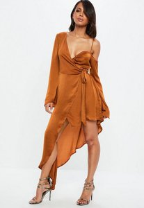 Read more about Rust asymmetric long sleeve satin maxi dress brown