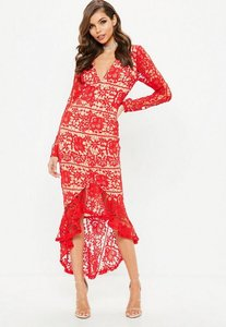 Read more about Red lace plunge fishtail hem midi dress red