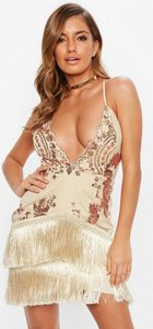 Read more about Nude strappy plunge gold sequin tassel mini dress beige