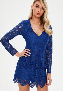 Read more about Blue lace plunge frill layer skater dress blue