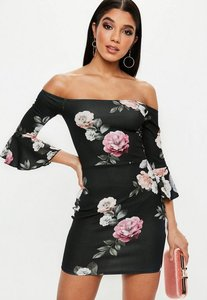 Read more about Black floral print bardot frill sleeve mini dress black