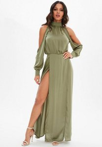 Read more about Khaki split front satin maxi dress beige