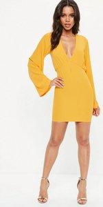Read more about Yellow plunge kimono sleeve bodycon mini dress yellow