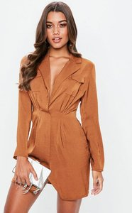 Read more about Rust satin pocket detail collar shift dress brown