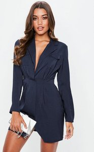 Read more about Navy satin pocket detail collar shift dress blue
