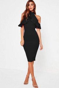 Read more about Black frill cold shoulder bodycon midi dress black