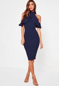 Read more about Navy frill cold shoulder midi dress blue