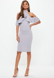 Read more about Grey high neck frill cold shoulder midi dress grey