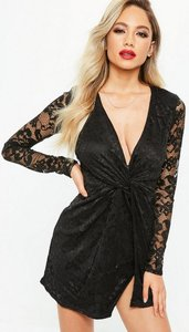 Read more about Black lace twist front dress black
