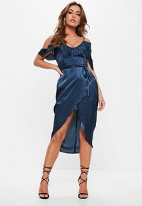 Read more about Navy satin frill midi dress blue