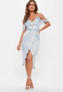 Read more about Blue satin frill midi dress grey