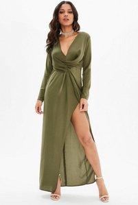 Read more about Khaki satin twist front split maxi dress beige