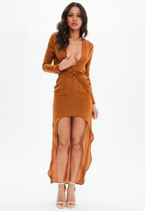 Read more about Rust satin asymmetric twist front maxi dress brown