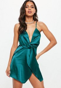 Read more about Teal satin strappy wrap shift dress blue